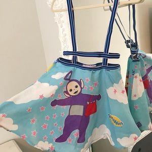 Tinky Winky Purple Teletubbies SUSPENDER Skirt